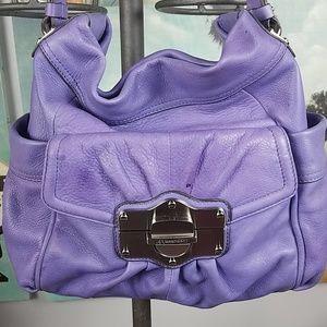 B Makowsky lilac leather hobo bag